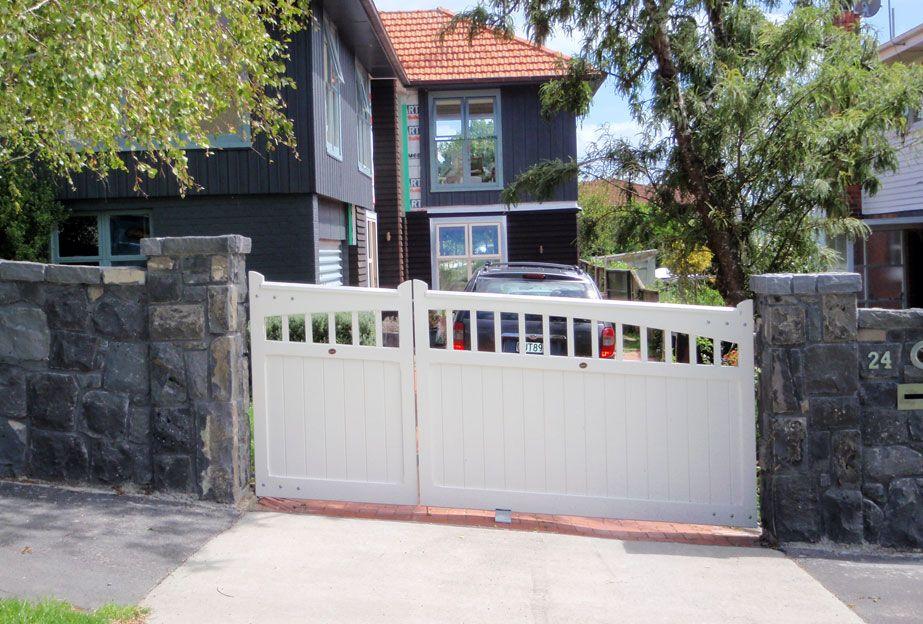 Double Sloped Wooden Gates Fences Driveway Gates Wooden